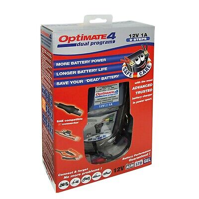 Tecmate Optimate 4 Dual Blue White Universal Motorcycle Battery Tender Charger