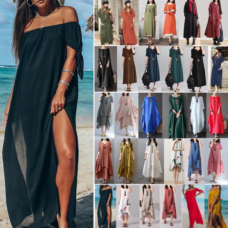 Damen Lose Kaftan Kleid Strandkleid Sommerkleid Lang Maxikleid  Freizeitkleid DE  7502626ba0