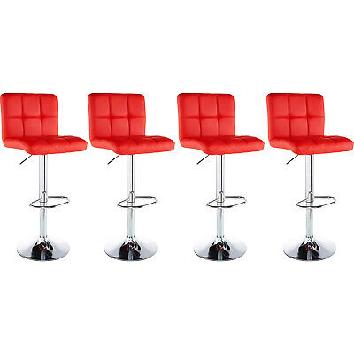 Set of 4 Counter Height PU Leather Bar Stools Adjustable Swivel Pub Chairs Red ()