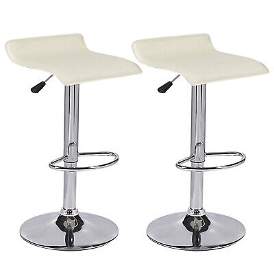 Set of 2 Cream Bar Stool Swivel Seat Counter Height Chrome Base Dinning Chairs
