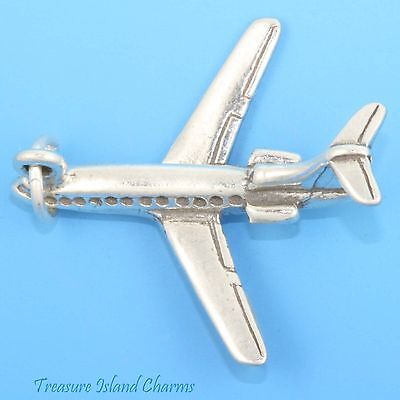 727 Jet Airplane Plane 3D .925 Solid Sterling Silver Charm Pendant MADE IN (Jet Airplane Plane)