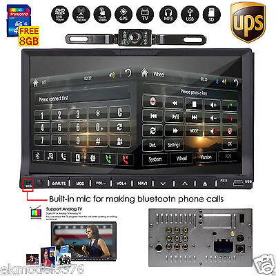 "HD 7"" 2 Din In Dash Car Stereo DVD Player GPS Navigation Bluetooth Radio+CAMERA"