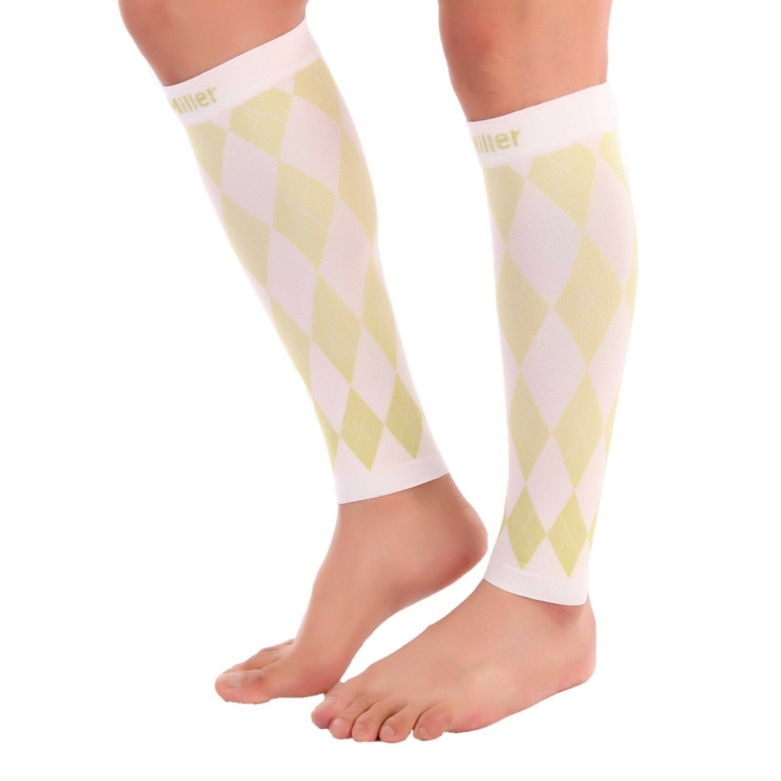 c7a4e0cdadc Doc Miller Calf Compression Sleeve 1 Pair 20-30mmHg Recovery Varicose Veins  WHITE GREEN