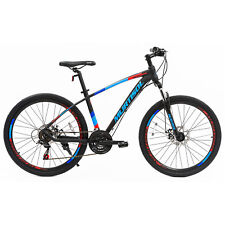 26 Blue Aluminum Mountain Bike Disc Brakes 21 Speeds Front Suspension Bicycle