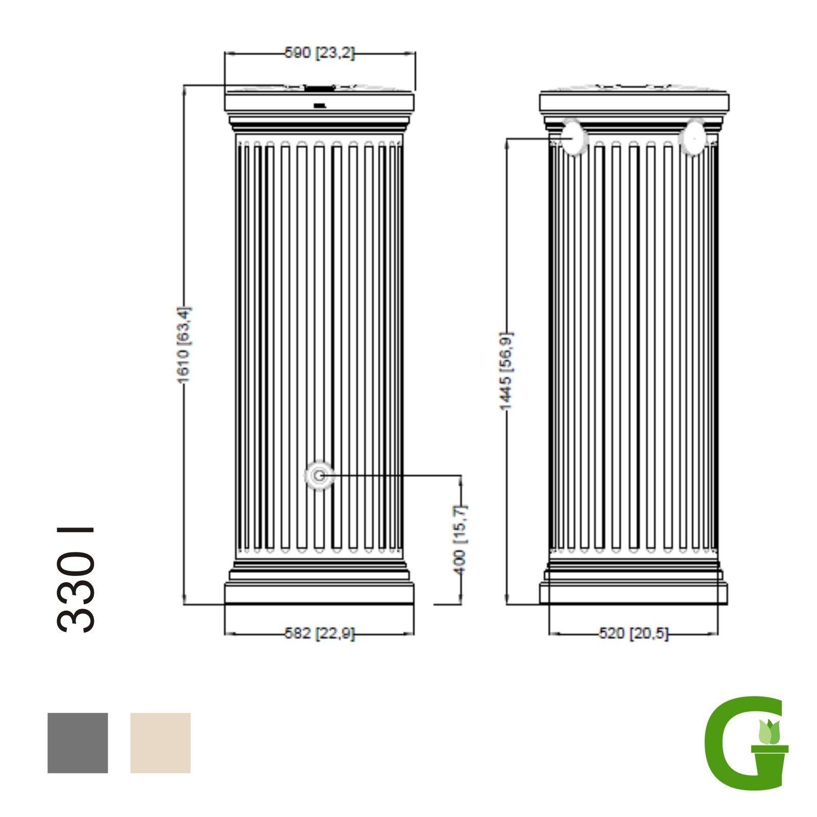 GRAF Regenwassertank Säulentank 330 L sandbeige NEU