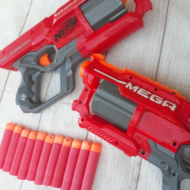 Lot of 2 NERF N-strike Elite Mega CycloneShock Blasters & 11 Foam Darts