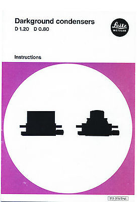 Leitz Darkground Darkfield Condenser Instruction Microscope Manual On Cd-l0158