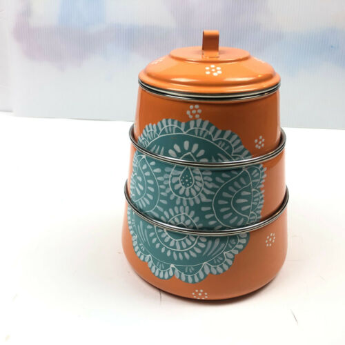 Tin Stacking Canisters Latching Clamp Lid Metal Orange Top Handle