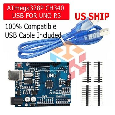 Arduino Uno R3 Ch340g Microcontroller Board Kit Atmega328p Sbc Usa Ship Today