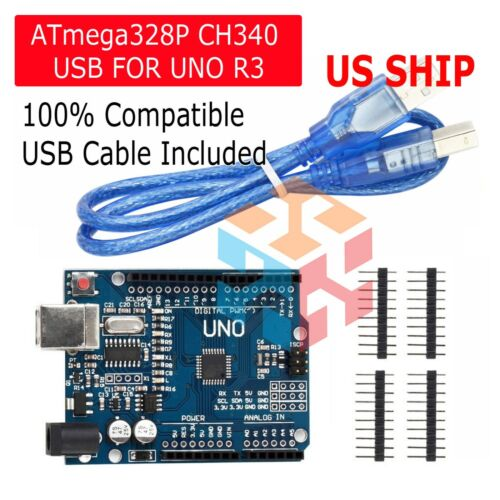 Arduino Uno R3 CH340G Microcontroller Board Kit ATMEGA328P SBC USA SHIP TODAY!