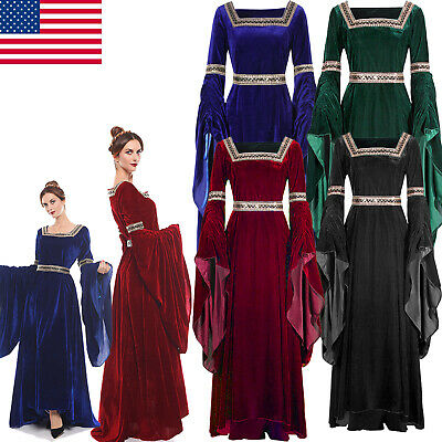 Halloween Women Medieval Renaissance Dress Velvet Retro Party Dress (Gothic Halloween Party)
