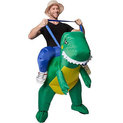Disfraz montado en dinosaurio inflable adulto autoinflable carnaval halloween