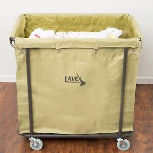 commercial laundry cart trash 14 bushel canvas bag lavex lodging metal frame