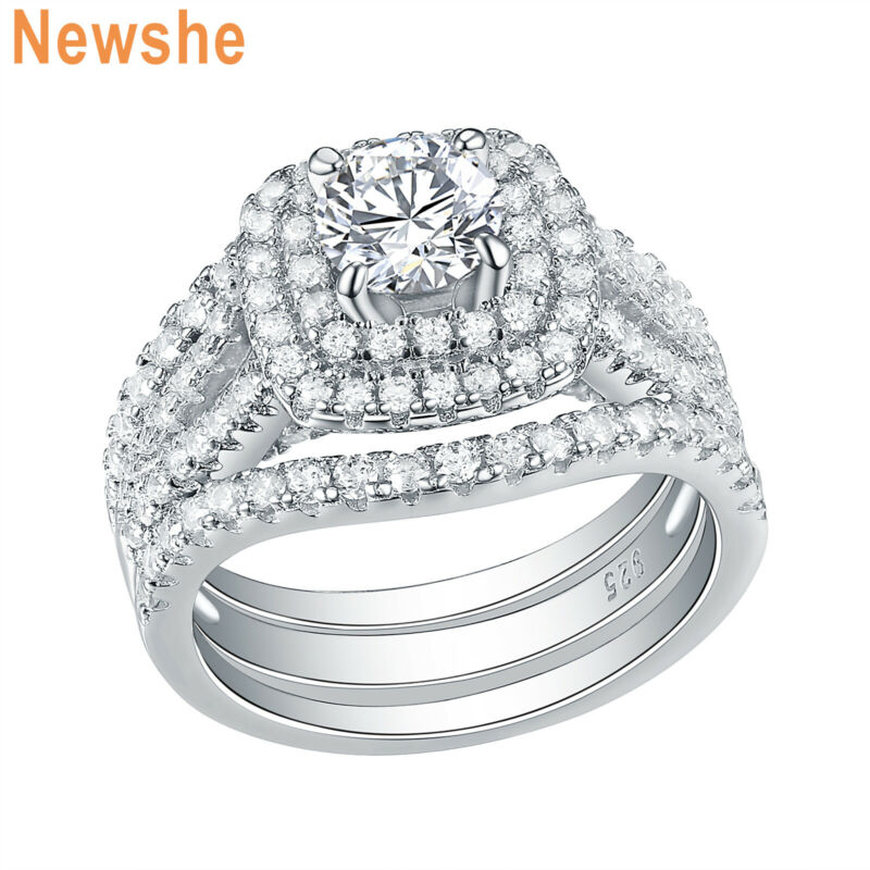 Newshe 3pcs Wedding Engagement Ring Set 925 Sterling Silver White Cz Blue 5-12