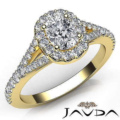 Split Shank French U Pave Set Cushion Cut Diamond Engagement Ring GIA H VVS2 1Ct