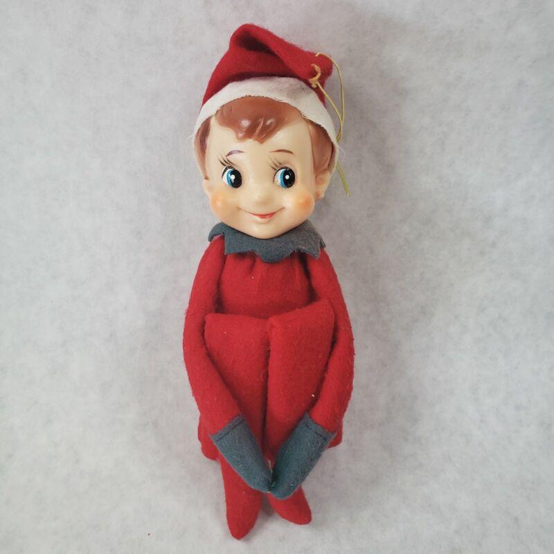 Vtg Christmas Elf on the shelf Knee Hugger Pixie Red with Bell Ornament Japan