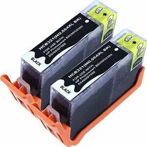 2 564XL New Black Ink for HP 564XL Deskjet 3070a 3520 3521 3522 3526 with Chip