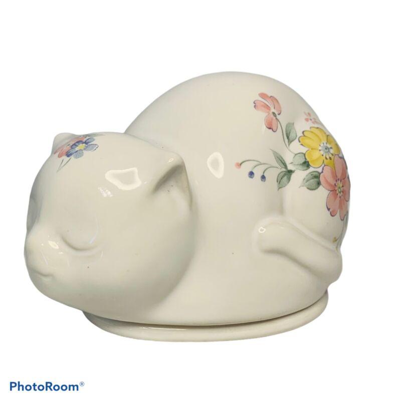 Small Porcelian Sleeping Cat Trinket Holder
