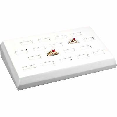 White Faux Leather 18 Ring Tray Jewelry Display Tray 8 14 X 4 12