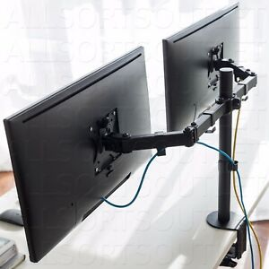 DUAL DOUBLE TWIN LCD MONITOR STAND MOUNT ARM CLAMP ADJUSTABLE 2 SCREENS 15-27