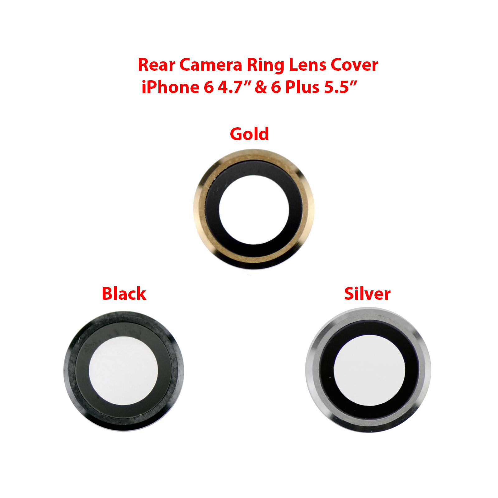 OEM Rear Back Camera Lens Glass Ring Cover Replacement for iPhone 6 and 6 Plus