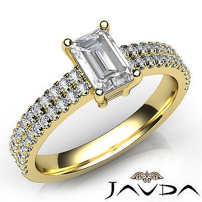 100% Natural Emerald Diamond Engagement Prong Setting Ring GIA H Color VVS2 1Ct