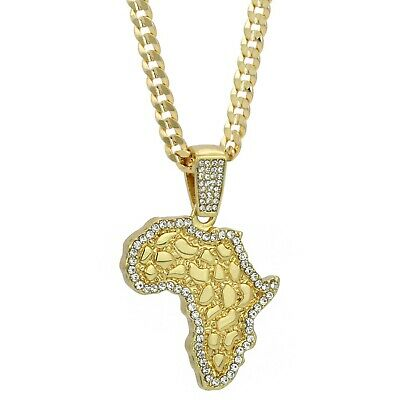 "Mens 14k Gold Plated Cz NUGGET AFRICA Pendant Hip-Hop 6mm 24"" Cuban #98 Chain"