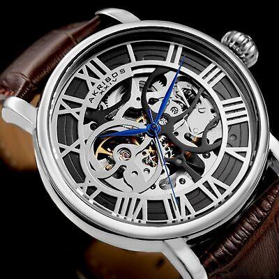 New Men's Akribos XXIV AK540BR Automatic Skeleton Brown Leather Strap Watch