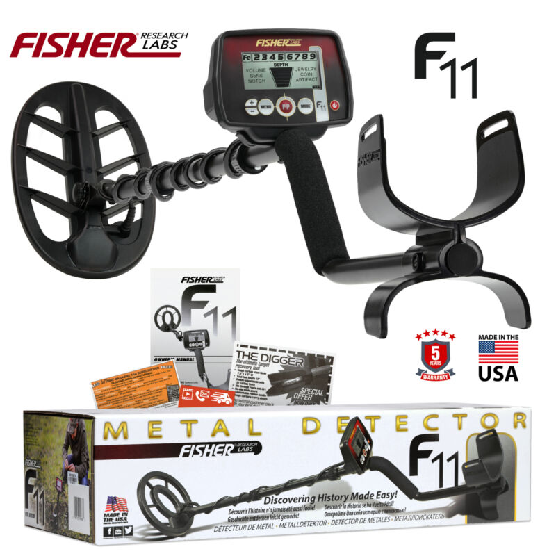 """Fisher F11 Metal Detector with 11"""" DD Waterproof Elliptical Search Coil"""