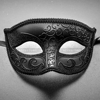 Black Luxury Half Face Venetian Mardi Gras Party Ball Masquerade Mask for Men