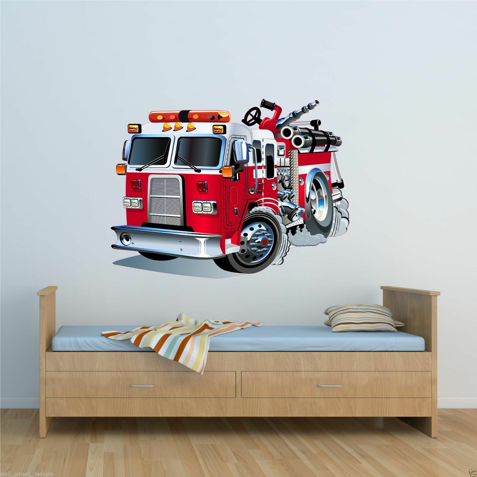 FULL COLOUR FIRE ENGINE CARTOON WALL STICKER BOYS BEDROOM DECAL TRANSFER  WSD221