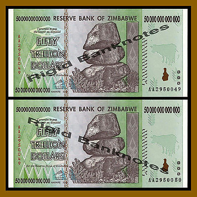 Zimbabwe 50 Trillion Dollars x 2 Pcs, 2008 AA = 100 TRILLION Unc