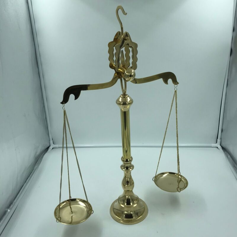 "Nautical 24"" Brass Gold Finish Scale of Justice with Hook for Hanging"