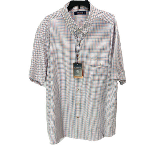 Cremieux Mens S/S Performance Shirt Button Down XL Red Blue Stretch Lightweight Casual Button-Down Shirts