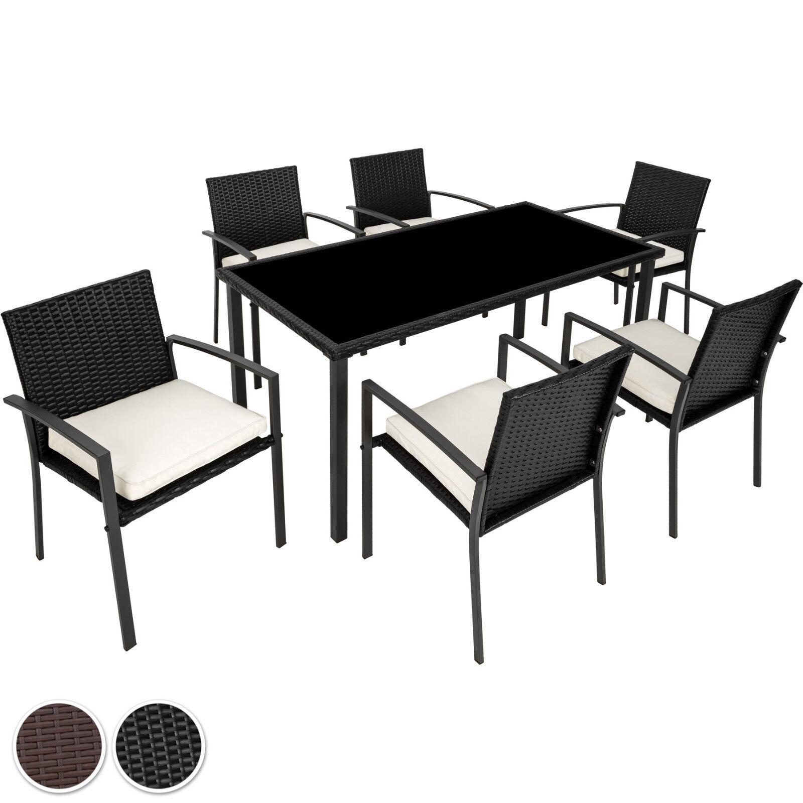Ensemble Salon de jardin résine tressée poly rotin extérieur 6x chaise table