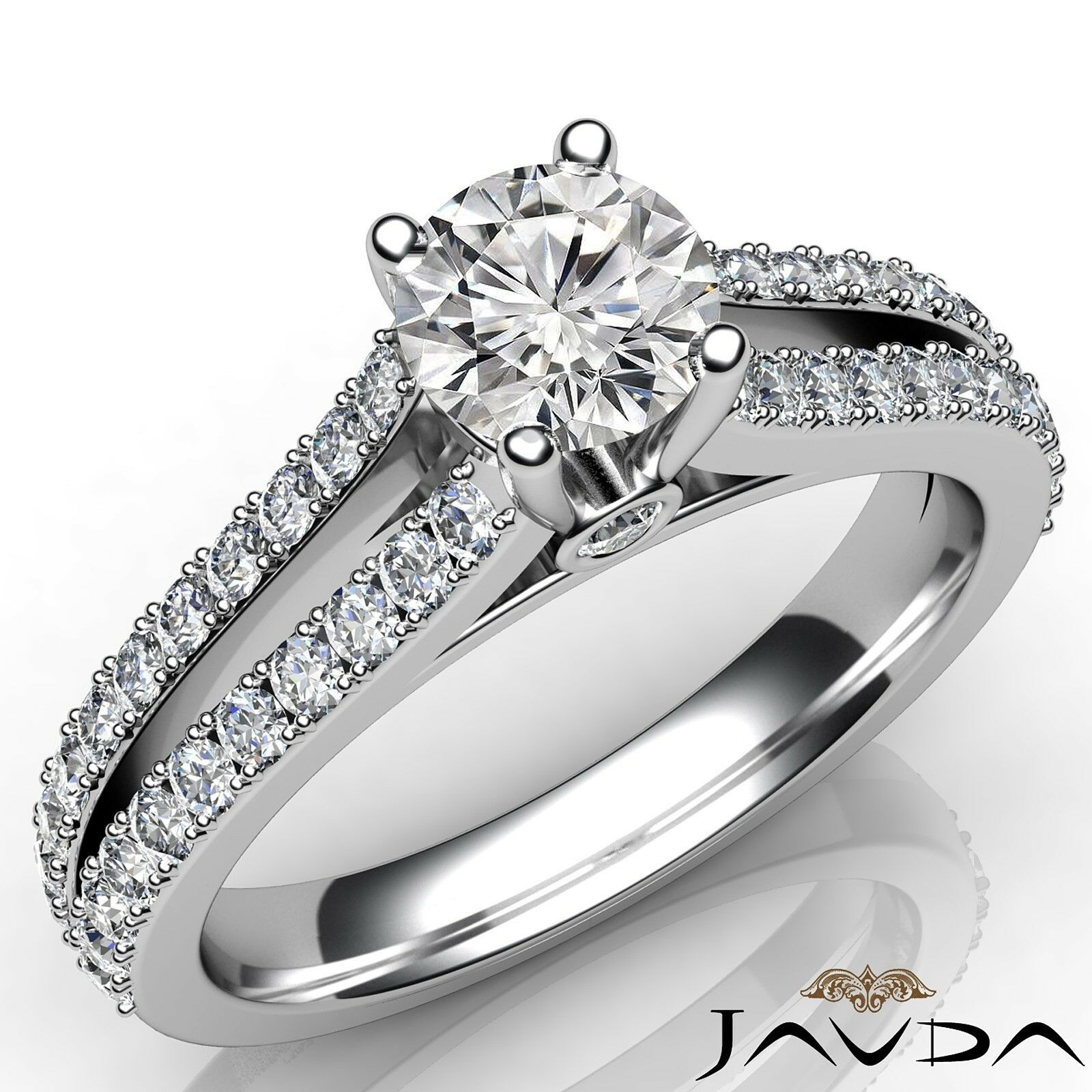1.05ctw Classic 4 Prong Round Diamond Engagement Ring GIA F-VVS2 White Gold New