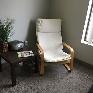 Two IKEA Poang chairs. Cream colour