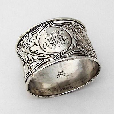 Large Floral Napkin Ring Gorham Sterling Silver Mono MHW