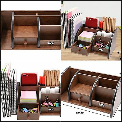 Pag Office Supplies Wood Desk Organizer Book Shelf Pen Holder Accessories