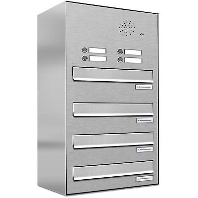 4er Premium V2A Zaun Durchwurf Briefkasten mit Klingel 4 Fach Postkasten
