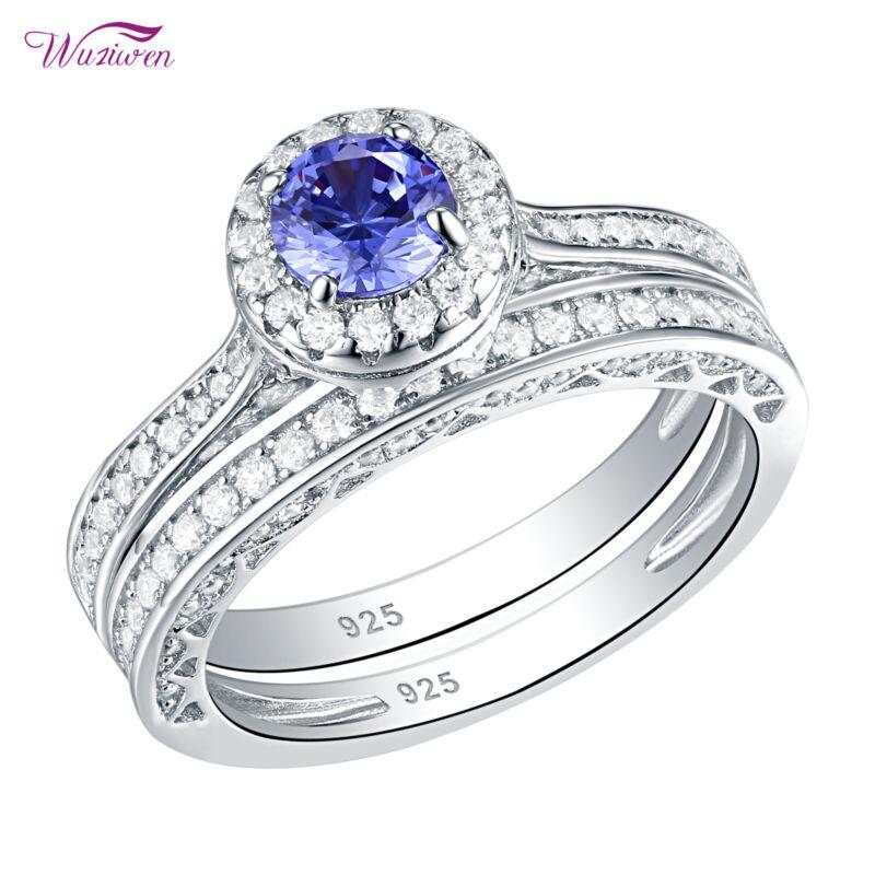Wuziwen Wedding Engagement Ring Set Round Blue Tanzanite Cz 925 Sterling Silver