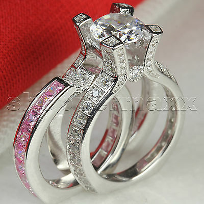 6.9CT Ladies Pink Lab Diamond Sapphire  Insert Engagement Ring Wedding Ring Set