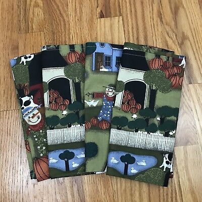 Fall Farm Halloween Reusable Cloth Napkins Lot Of 4 Scarecrow Wilson & Wilson AQ (Halloween Cloth Napkins)