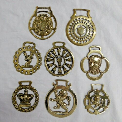 Brass Horse Harness Bridle Medallions Lot of 8 Vintage Stag Lions Unicorn Shield