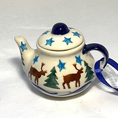 POLISH POTTERY Unikat Teapot CHRISTMAS ORNAMENT Reindeer STARS Trees NEW ANDAR