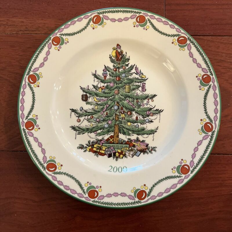 VINTAGE SPODE PORCELAIN CHRISTMAS TREE PATTERN ANNUAL COLLECTOR PLATE 2000