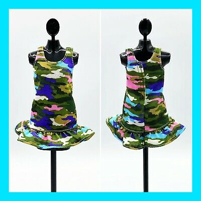 Curvy Barbie Camouflage Sleeveless Top Dress w/ Ruffle Buttom