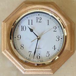 "Vintage WESTCLOX 11"" Oak Wood Grain Octagon Wall Clock Gold Trim Classic Works"