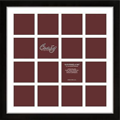 Craig Frames 1WB3BK 18x18 Black Frame, White matting,16 Openings for 4x4 Images
