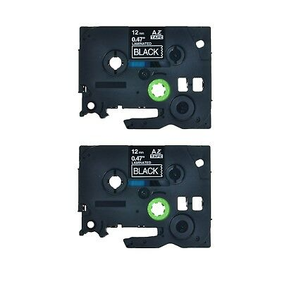 2pk Tze 335 Tz 335 Tz335 White On Black Label Tape For Brother Pt-1890sc 12